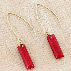 "Jewelry - BURGUNDY GEMSTONE ""WORN"" GOLDTONE EARRINGS"